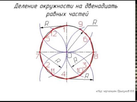 Деление окружности на 12 частей