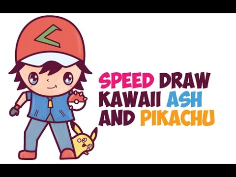 Speed Drawing Ash Ketchum and Pikachu Pokemon (Cute Chibi Kawaii) Easy Step by Step Drawing for Kids