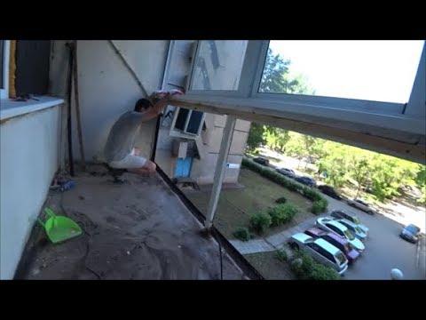 Балкон на прокачку.Делаем наружку белым профлистом.Разнесли парапет!