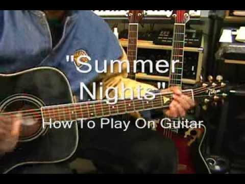John Travolta Olivia Newton-John SUMMER NIGHTS Guitar Lesson & Cover GREASE