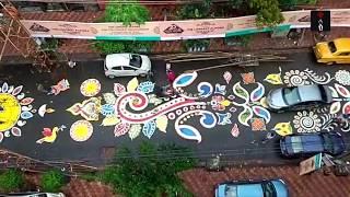 Overhead View Of The Lake Road In Kolkata Ahead Of Durga Puja thumbnail