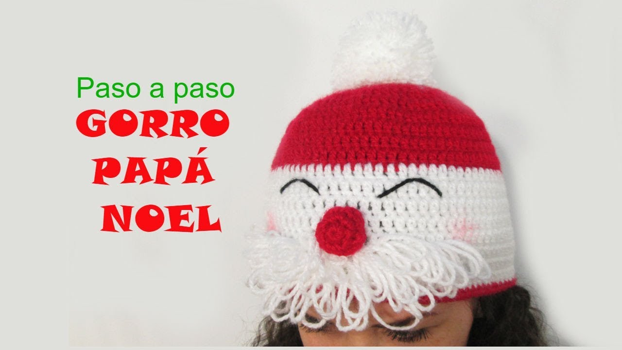 🎅 Tutorial gorro papá Noel a crochet - YouTube
