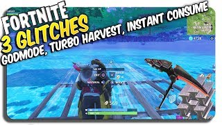 3 Fortnite Glitches: TURBO HARVEST, Solo Under map, Instant Consume Mushrooms + apples