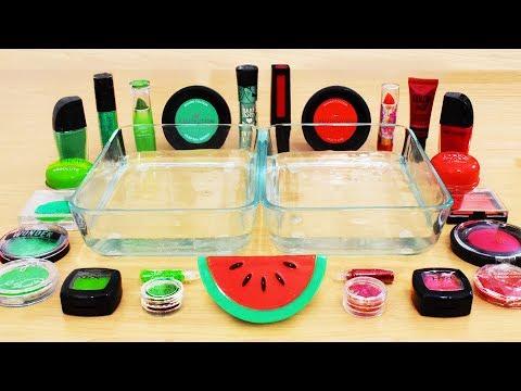 Green vs Red - Mixing Makeup Eyeshadow Into Slime! Special Series 64 Satisfying Slime Video
