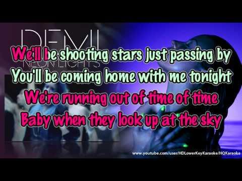 Demi Lovato - Neon Lights [Lower Key Official Karaoke / Instrumental]