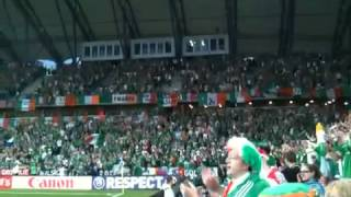 Irish fans sing Come on you boys in green. Ireland v Croatia in Poznan stadium. Euro 2012