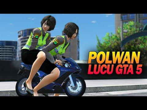 Ngakak Polwan Cantik Konvoi Motor Mini - Gta 5 Razia Polisi Indonesia