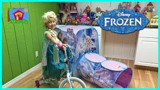 Disney Frozen Toys Surprise Tent w/ Bicycle Ride On! Elsa and Anna Toys