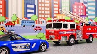 ПОЖАРНАЯ МАШИНА на службе. Школьный автобус. Мультик про полицейскую машину.  Развивающий мультик