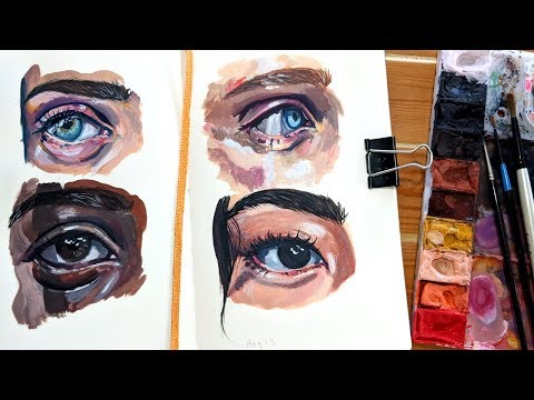 Gouache Eyes // sketching & painting process