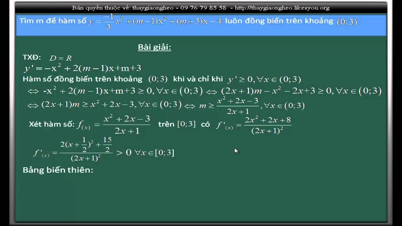 Bài giảng: Tìm điều kiện của m để hàm số đồng biến trên khoảng (0;3)