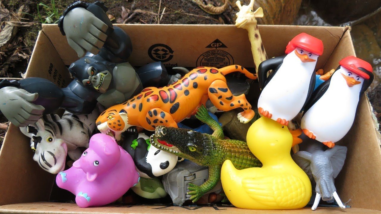 Learning Wild Zoo Animals Box Full Of Toys Collection Jungle Safari Animal Planet Fun Toy Surprises