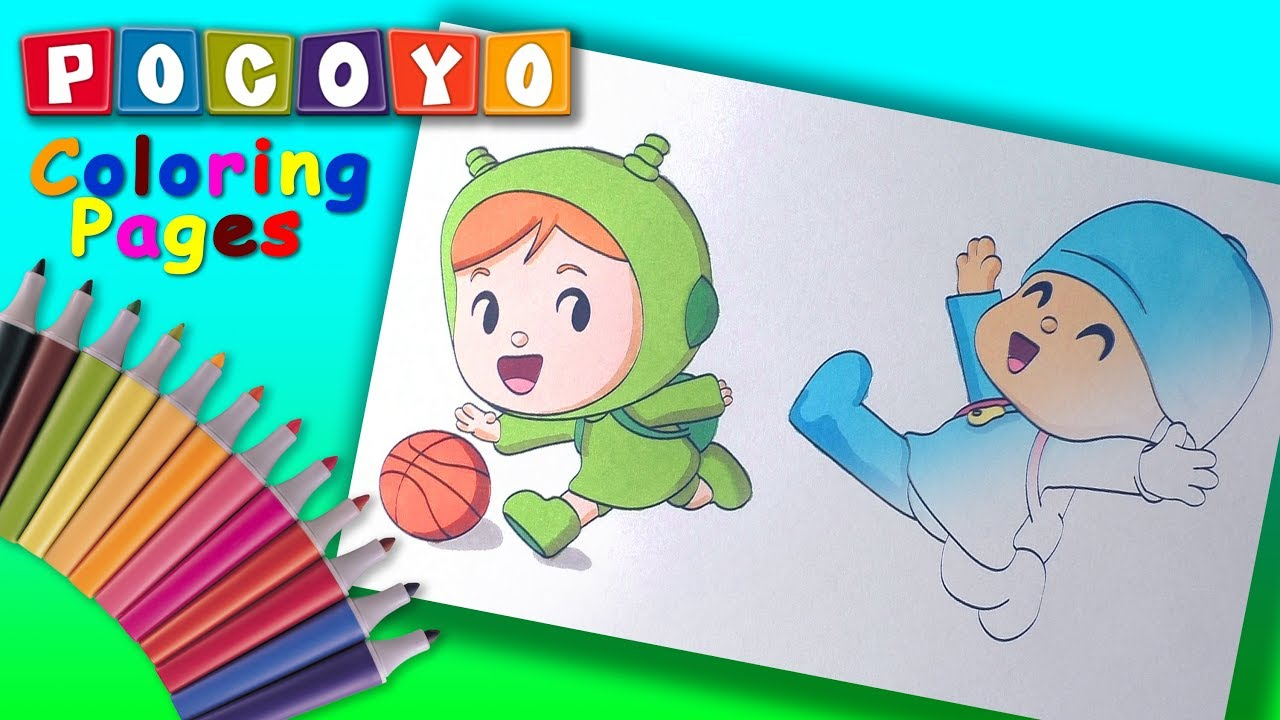 Pocoyo And Nina Play Basketball Nursery Coloring Pages Pocoyo Coloring Book Forkids Youtube