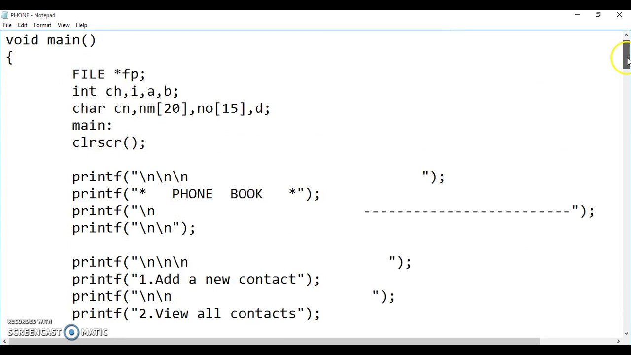 Phonebook C language program