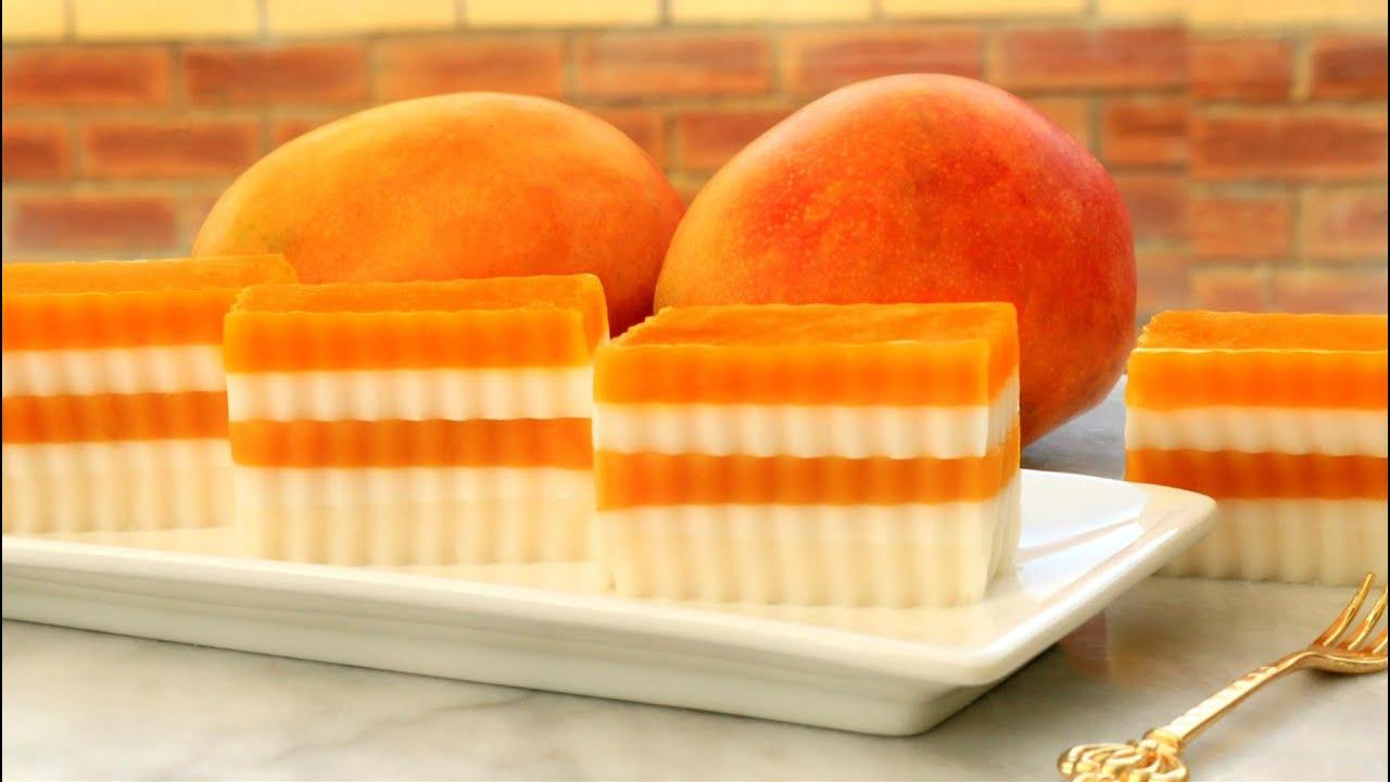 How To Make Mango Coconut Jelly | Agar Agar Cake | Mango