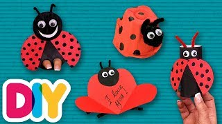 4 EASY Ladybug Spring Crafts you can do with your kid 🐞 Fast-n-Easy | DIY Arts & Crafts for Kids