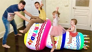 Vania and Mania Pretend play with Giant Inflatable Happy Birthday Cake Party Toy