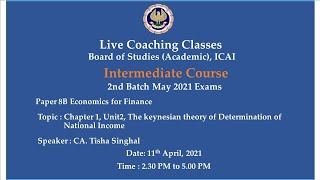 Intermediate Paper-8B: EF - Topic: Ch-1, Unit2, The keynesian..,Afternoon Session Date:11-04-2021