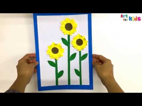 How to make a post of sunflowers | DIY Paper Crafts | Art for kids