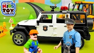 Cartoon With Toy Cars. Police Car Bruder Jeep Wrangler With Policeman The Story With Toys. Brudertoy