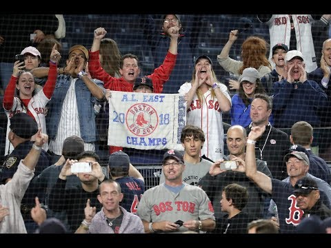 Red Sox fans celebrate like crazy at Yankee Stadium