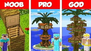 Minecraft NOOB vs PRO vs GOD: PALM Tree House Build Challenge in Minecraft / Animation