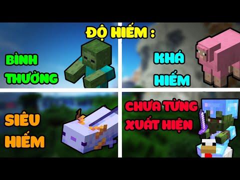 10 Sinh Vật (Mobs) Và ĐỘ HIẾM Của Chúng Trong Minecraft - Siêu Zombie Cực Hiếm
