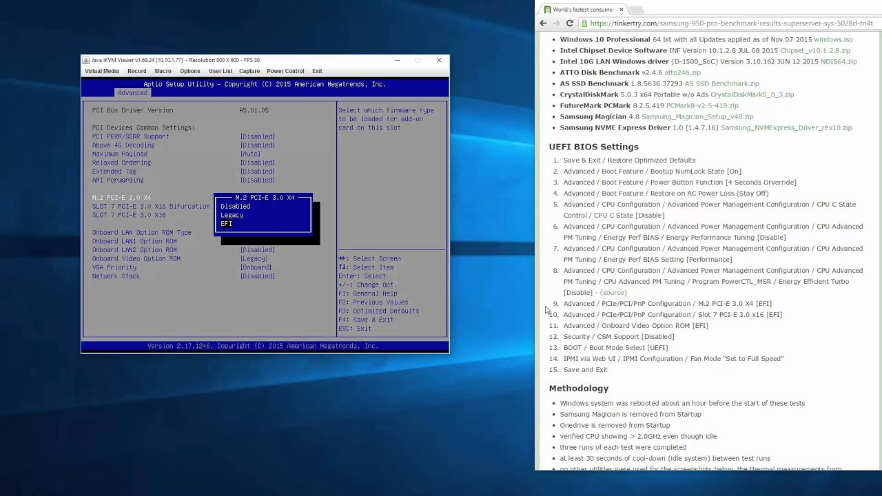 How to setup the UEFI BIOS in Supermicro SYS-5028D-TN4T for benchmarking