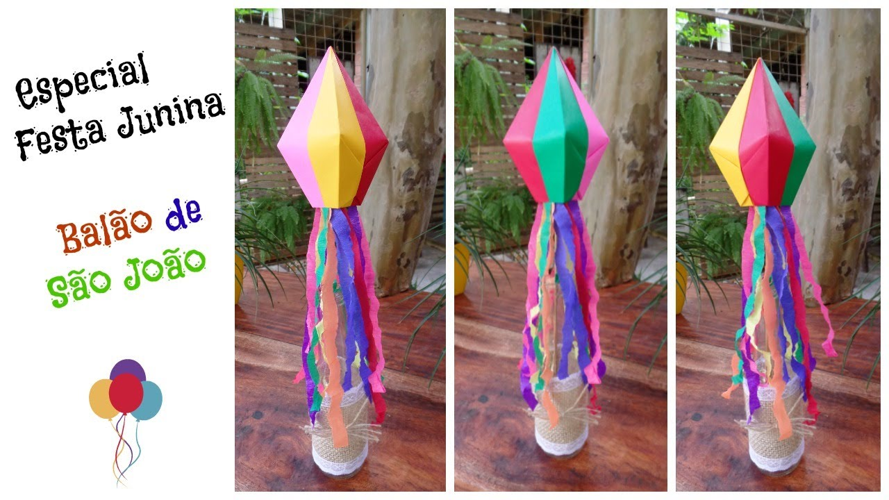 Festa junina centro de mesa bal u00e3o de S u00e3o Jo u00e3o de 4 cores YouTube -> Decoração De Balões Festa Junina