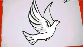 How to drawa bird  Çok kolay kuş çizimi  Kolay Resimler