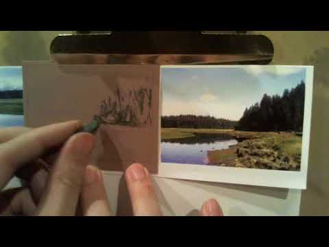 Pastel tutorial, how to draw a landscape sketch card