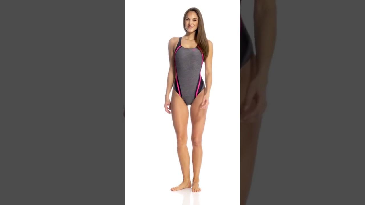 f559bdeb435c7 Speedo Women's Heather Quantum Splice One Piece Swimsuit | SwimOutlet.com