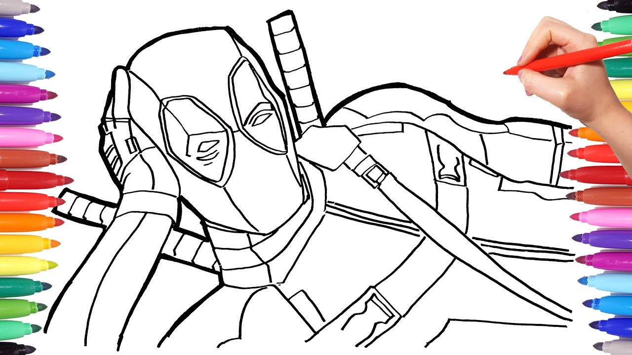 MARVEL DEADPOOL Coloring Pages   How to Draw Deadpool ...
