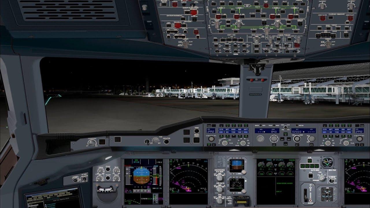 L'A380 d'Air France se pose à Nice de Nuit - XPlane11- 4K
