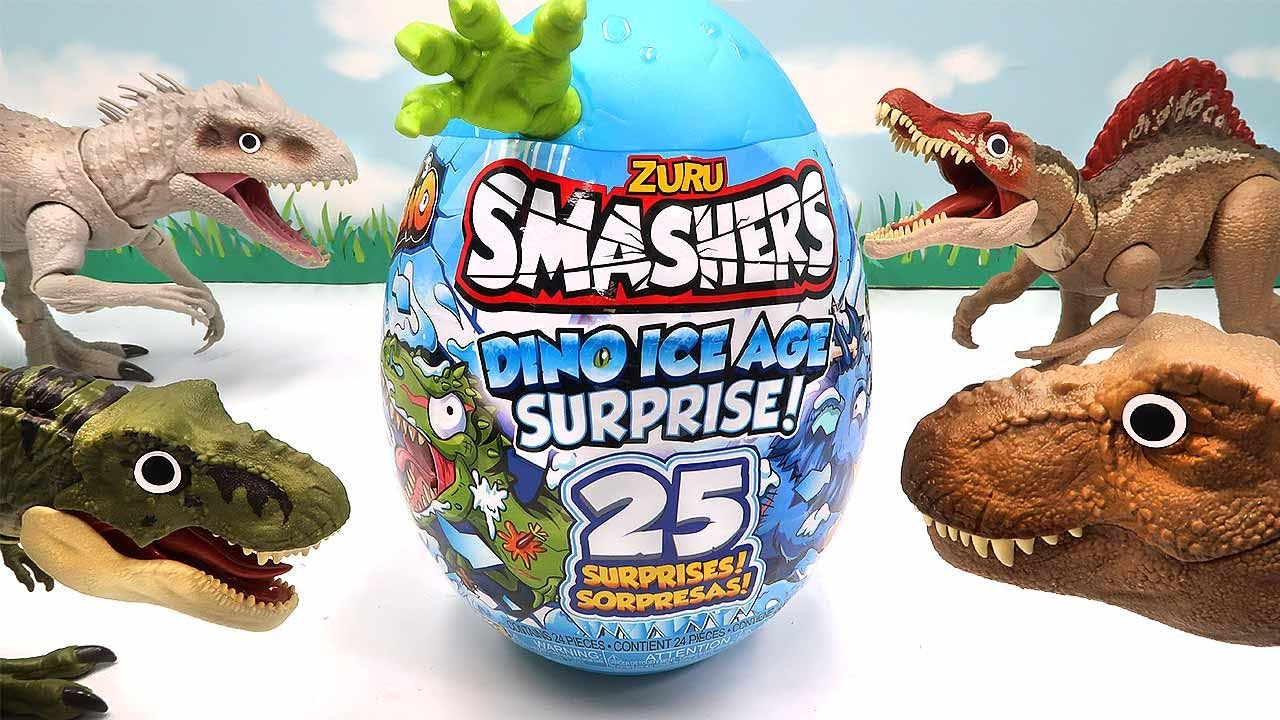 Dinosaur SMASHERS ICE AGE! 25 Surprise Egg - Tyrannosaurus 공룡 다이노 아이스 에이지 서프라이즈
