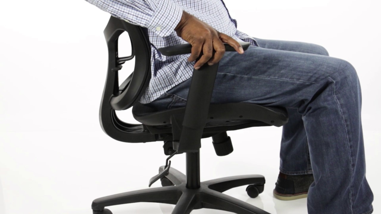 Essentials By Ofm Mesh Seat Ergonomic Office Chair With Arms And Lumbar Support Ess 3055