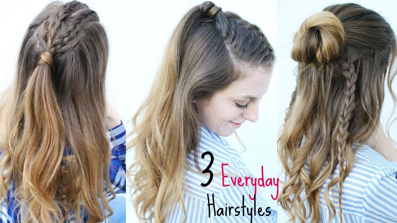youtube hair up styles 3 everyday half up hairstyles summer hairstyles 9198 | maxresdefault