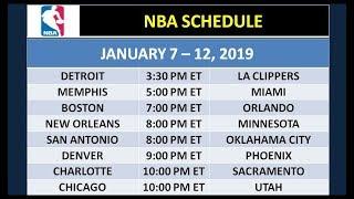 NBA Schedule on January 7-12, 2019