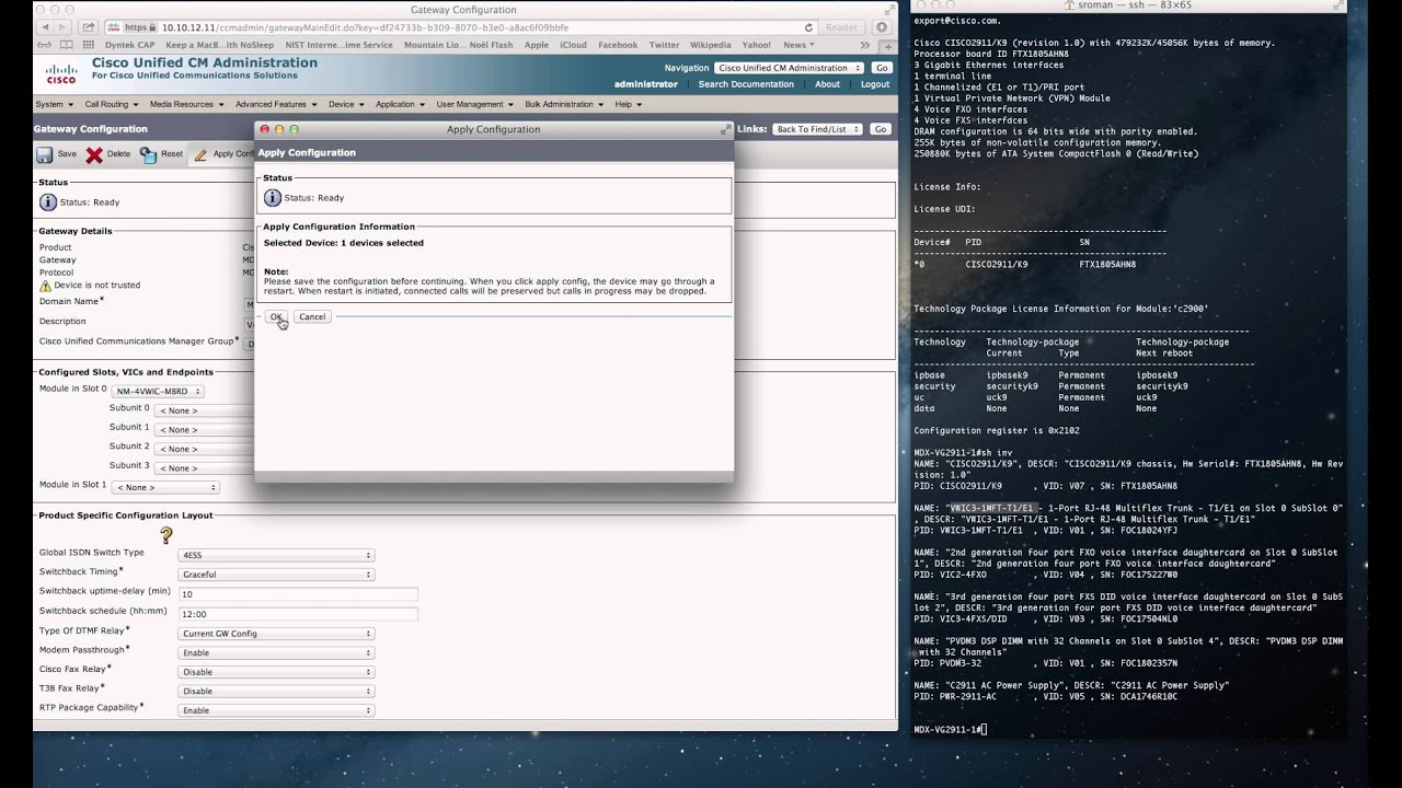 Cisco: MGCP Voice Gateway connection to Call Manager 9