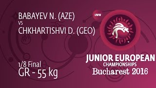 1/8 GR - 55 kg: N. BABAYEV (AZE) df. D. CHKHARTISHVI (GEO) by FALL, 5-5
