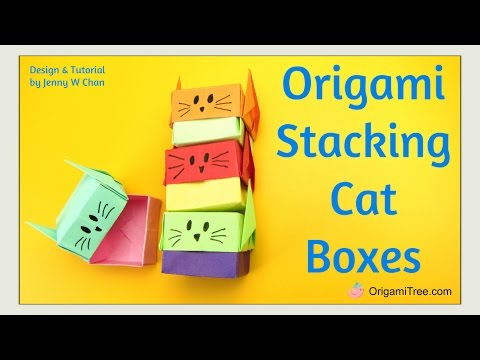 Paper Crafts - Origami Cat Box - Origami Cat & Origami Box - Stacking Gift Boxes Easy for Kids