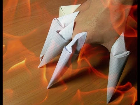DIY Halloween Crafts. How to make Paper Claws. Easy Origami for beginners