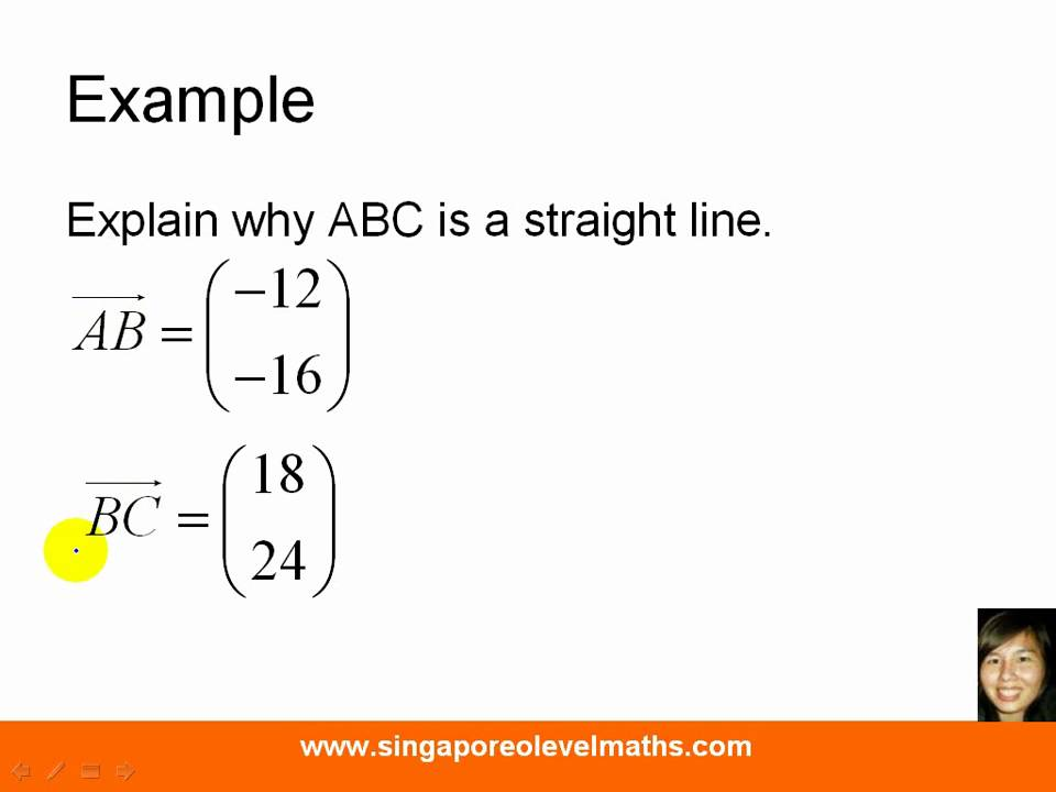 GCE O-Level E-Maths: Vectors - Explain why 3 points lie on the same ...