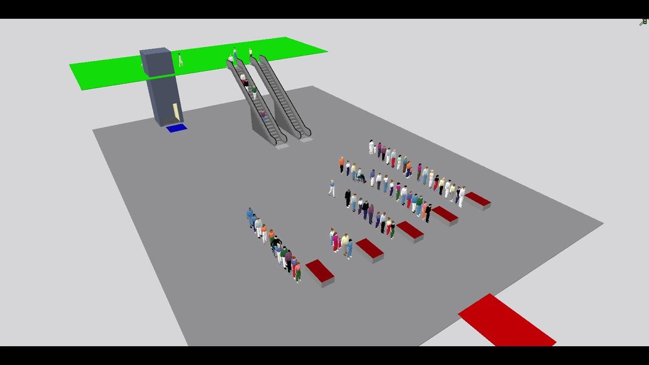 Simulation of travelers queueing at immigration counter using Viswalk