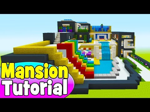 Minecraft Tutorial: How To Make A Modern Mansion With a Waterslide #7