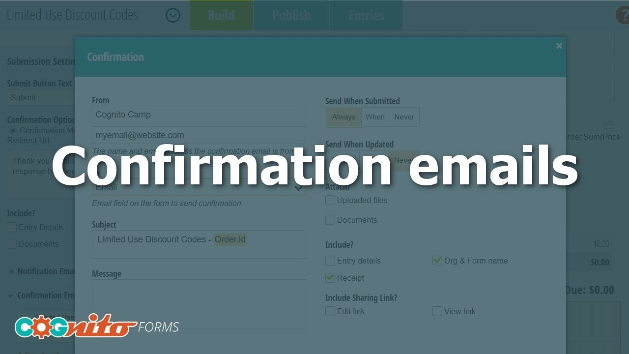 Create custom confirmation emails - Cognito Forms Support