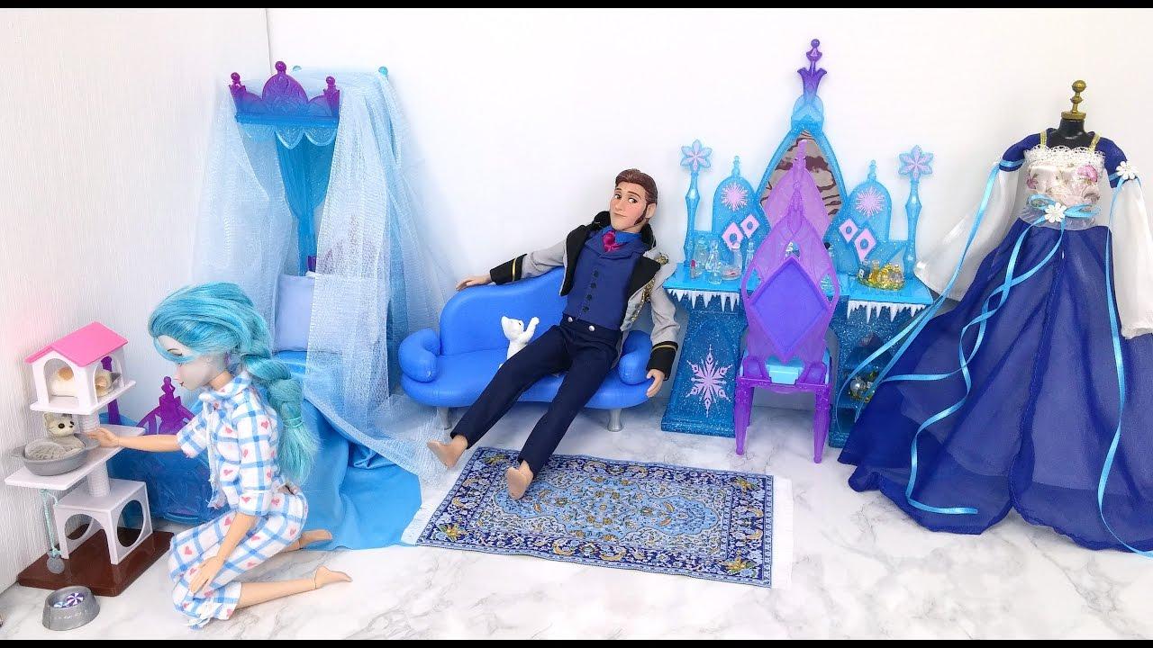 camera della bambola della regina elsa! camera da letto di barbie ... - Camera Da Letto Di Barbie