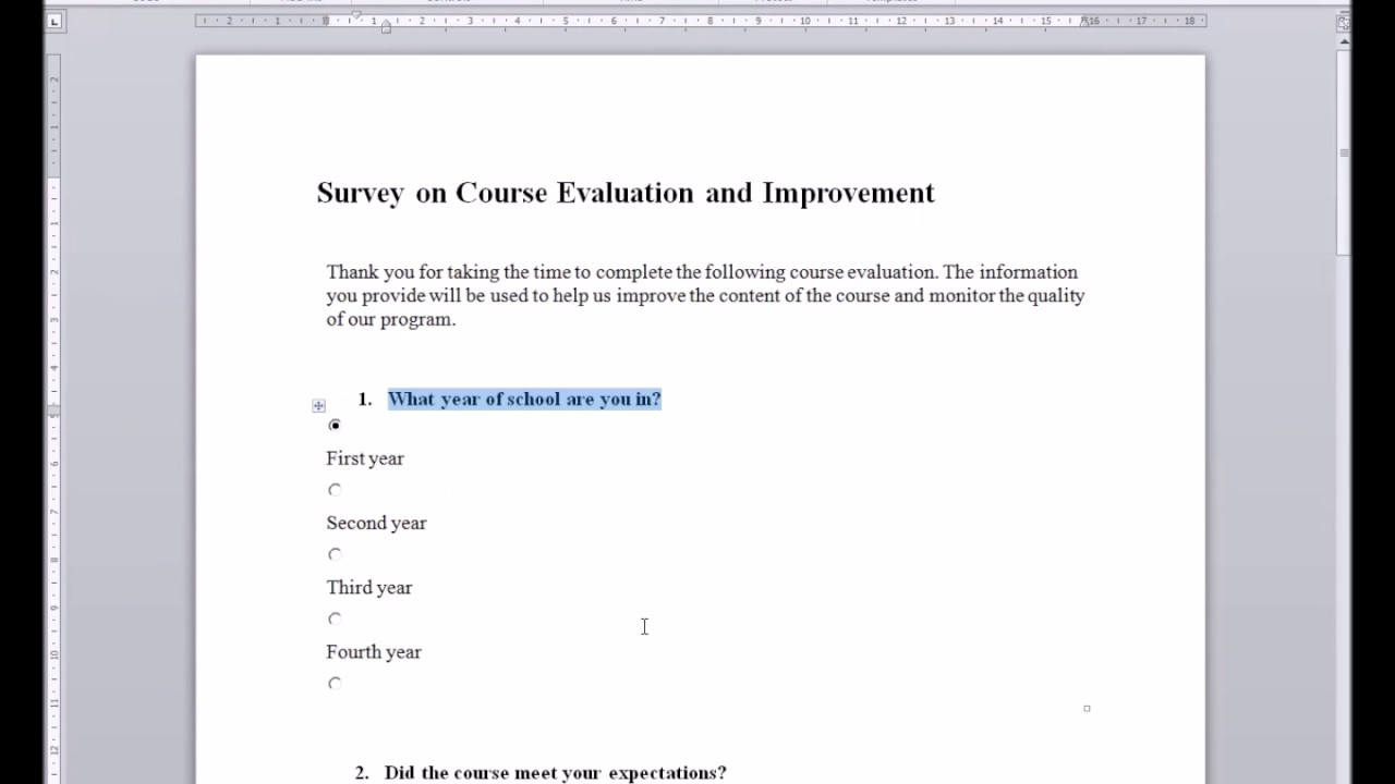 how to make a survey on word