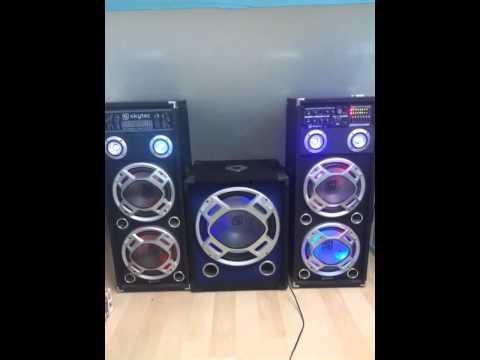 Skytec 1600watt karaoke set + skytec subwoofer 600watt