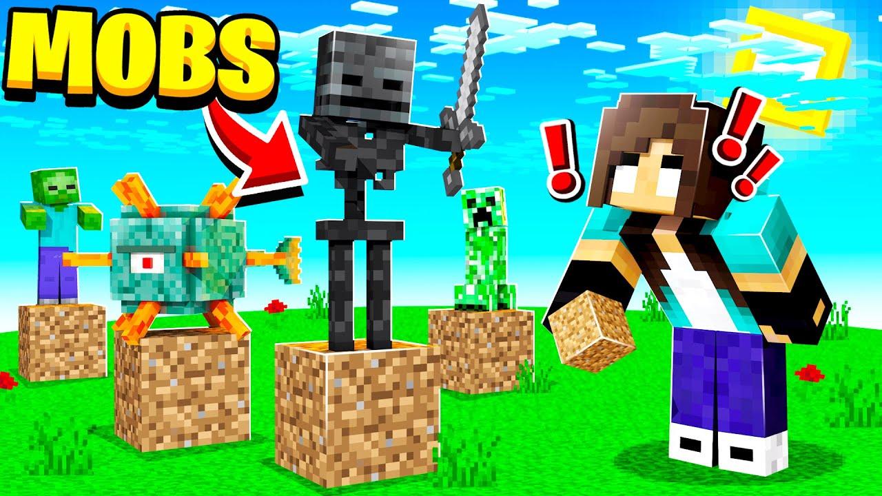 Minecraft but Placing blocks Spawns RANDOM Mobs (noob Girl)